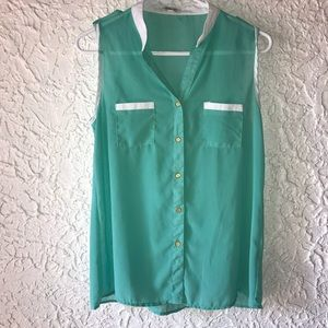 Turquoise Only You button up top size Large